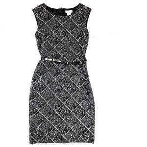 {Kate Hill} NWT Black & White Diamond Belted Dress